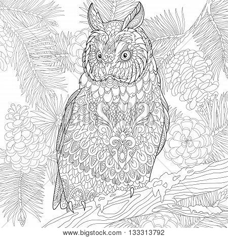 Zentangle stylized cartoon eagle owl isolated on white background. Hand drawn sketch