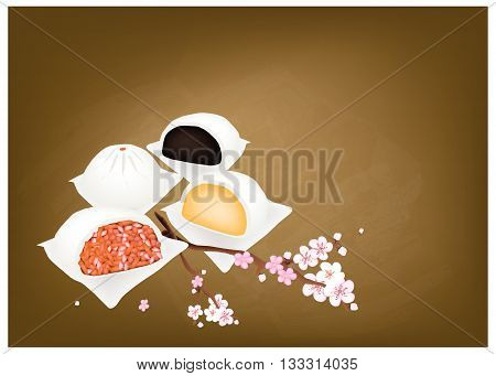 Chinese Cuisine Illustration of Chinese Steamed Bun on Chalkboard. One of Most Popular Dumplings in China.