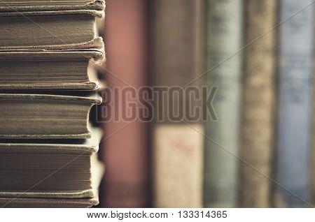 Vintage inspired antique books on a shelf