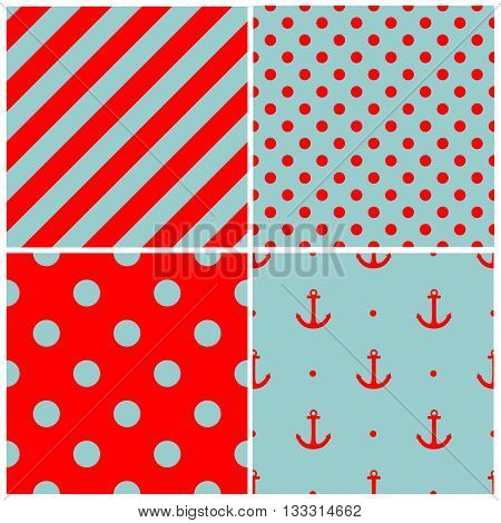 Tile sailor vector pattern set with white polka dots and zig zag stripes on blue background