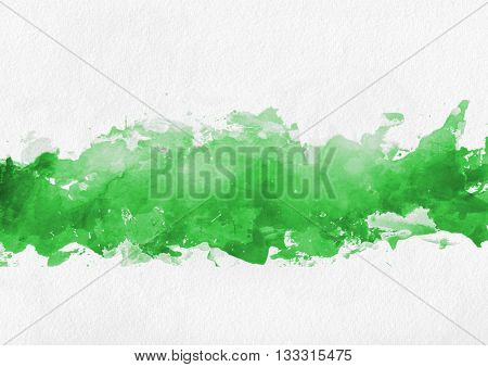 Colorful bright green paint splash background with a band of random brushstrokes and blotches on a textured paper or canvas background with copy space
