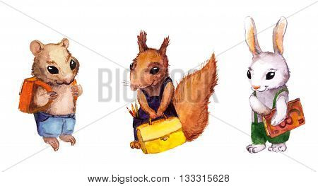 Cute animals going to school - hamster, squirrel, rabbit. Watercolor