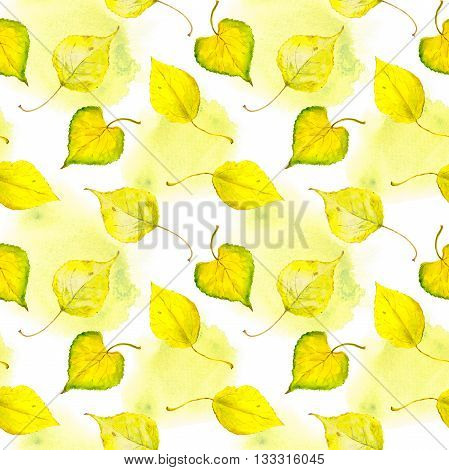 Watercolor golden autumn leaves. Repeated autumn pattern.