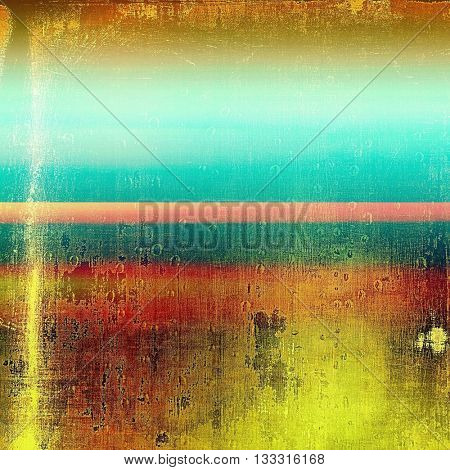 Retro grunge vintage background or weathered antique texture with different color patterns: yellow (beige); brown; green; blue; red (orange); pink