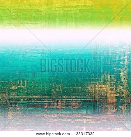 Weathered grunge elements on vintage texture for your design. Aged background with different color patterns: yellow (beige); green; blue; cyan; white; pink
