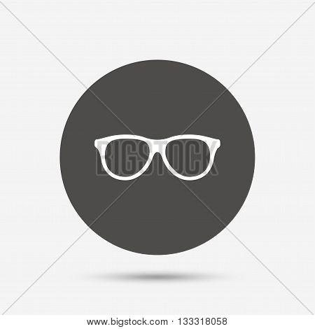 Retro glasses sign icon. Eyeglass frame symbol. Gray circle button with icon. Vector