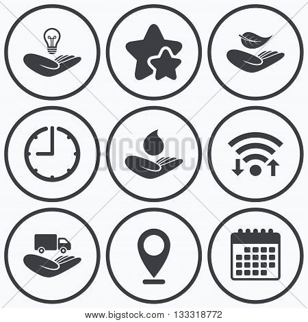 Clock, wifi and stars icons. Helping hands icons. Intellectual property insurance symbol. Delivery truck sign. Save nature leaf and water drop. Calendar symbol.