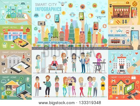 Smart City Infographic set with people and other elements. Vector illustration.