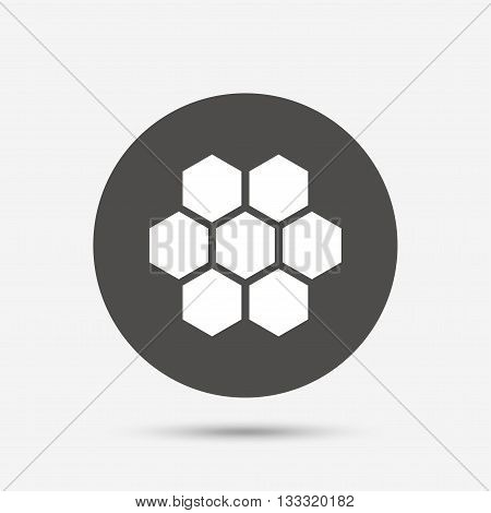 Honeycomb sign icon. Honey cells symbol. Sweet natural food. Gray circle button with icon. Vector