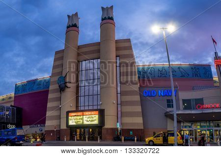 CALGARY, CANADA - JUNE 3: Cineplex movie theatre at Chinook Centre mall at sunset on June 3, 2016 in Calgary, Alberta Canada. Chinook mall is one of the busiest malls in Alberta and Canada.