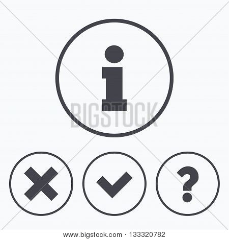 Information icons. Delete and question FAQ mark signs. Approved check mark symbol. Icons in circles.