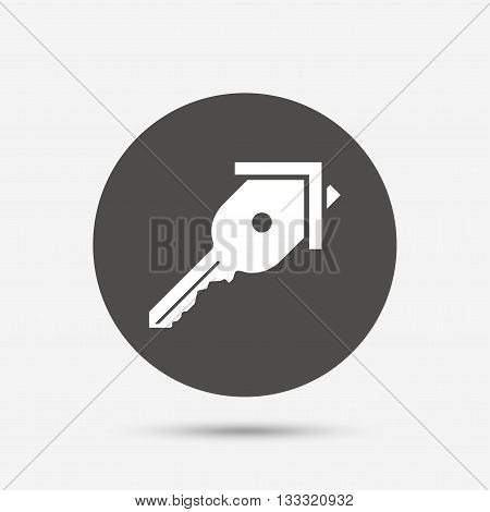 Key from the house sign icon. Unlock tool symbol. Gray circle button with icon. Vector