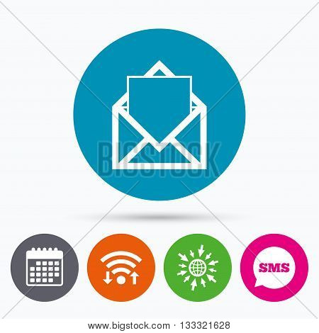 Wifi, Sms and calendar icons. Mail icon. Envelope symbol. Message sign. Mail navigation button. Go to web globe.
