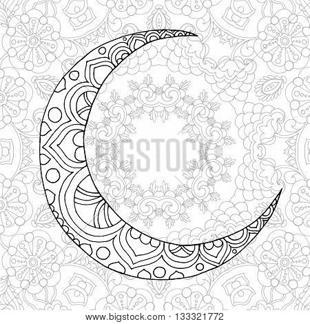 Ramadan Kareem half moon. Greeting design coloring page. Engraved vector illustration. Sketch for decoration, poster, print, t-shirt.