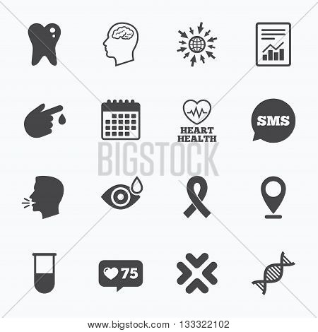 Calendar, go to web and like counter. Medicine, medical health and diagnosis icons. Blood test, dna and neurology signs. Tooth, report symbols. Sms speech bubble, talk symbols.