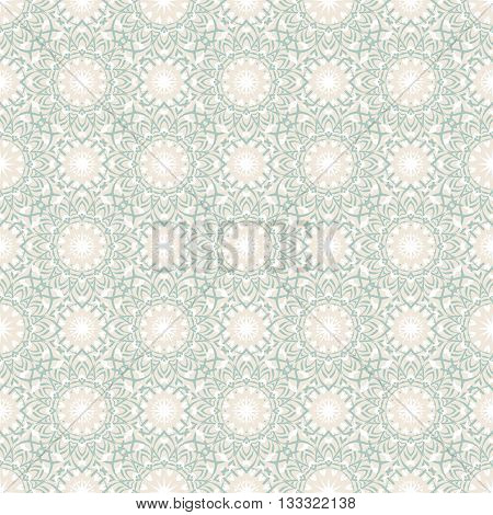 Vector art deco pattern with abstract flowers in 1920s fashion style. Chic and elegant vintage print with flourish decor, floral motif and circles for wedding invitation background in pastel colors