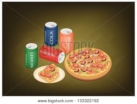 Fast Food Delicious Pepperoni Pizza and Sliced Pizza with Soda Drinks on Green Chalkboard.