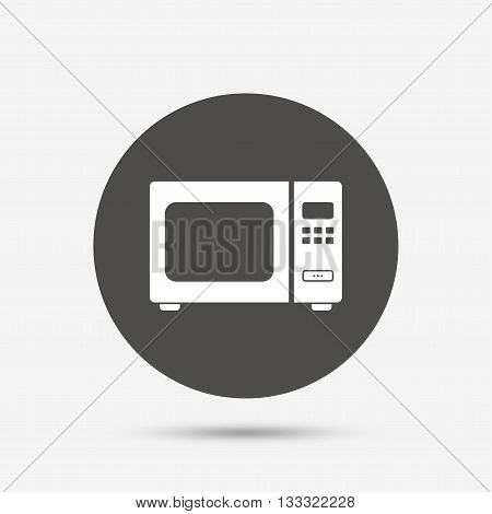 Microwave oven sign icon. Kitchen electric stove symbol. Gray circle button with icon. Vector
