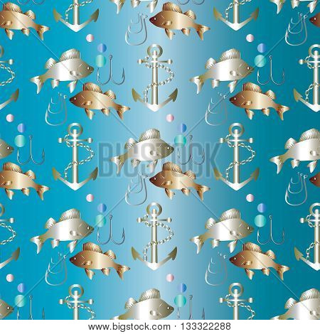 Fishing seamless pattern. Gold and silver fishes, silver anchor with chain and fishing hooks are on the gradient blue  background. Can be scaled to any size.