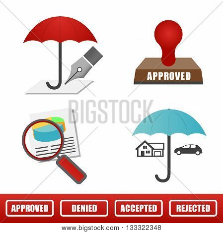 Full Color Home And Auto Insurance Icons Isolated On A Solid Background