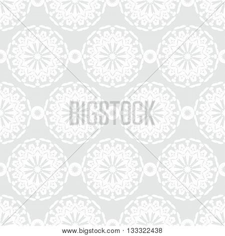 Vector art deco pattern with abstract flowers in 1920s fashion style. Simple, chic and elegant print with geometric decor and floral motif and circles for wedding invitation background in silver white