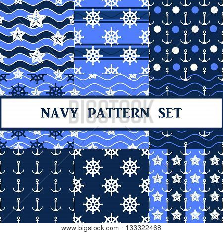 Vector navy seamless pattern in blue color set