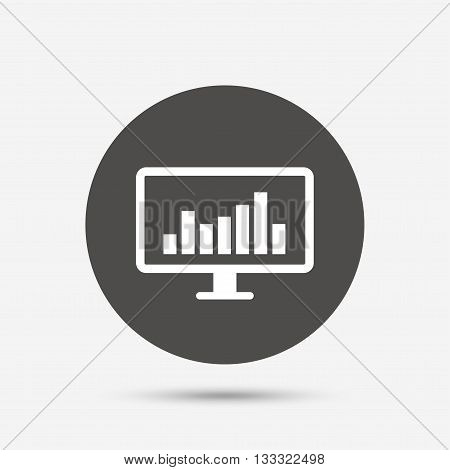 Computer monitor sign icon. Market monitoring. Gray circle button with icon. Vector