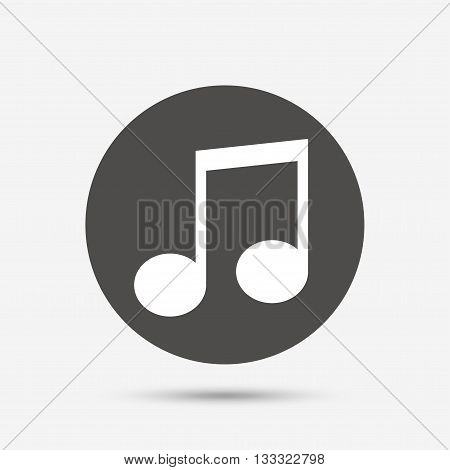 Music note sign icon. Musical symbol. Gray circle button with icon. Vector