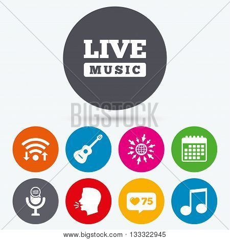 Wifi, like counter and calendar icons. Musical elements icons. Microphone and Live music symbols. Music note and acoustic guitar signs. Human talk, go to web.