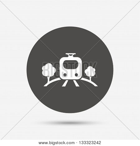 Overground subway sign icon. Metro train symbol. Gray circle button with icon. Vector