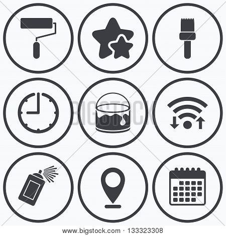 Clock, wifi and stars icons. Painting roller, brush icons. Spray can and Bucket of paint signs. Wall repair tool and painting symbol. Calendar symbol.