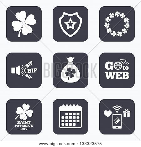Mobile payments, wifi and calendar icons. Saint Patrick day icons. Money bag with clover sign. Wreath of quatrefoil clovers. Symbol of good luck. Go to web symbol.