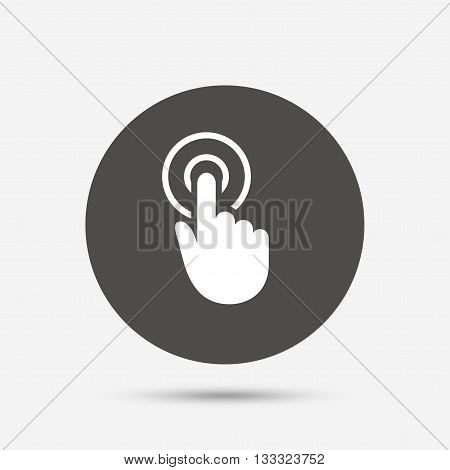 Hand cursor sign icon. Hand pointer symbol. Gray circle button with icon. Vector