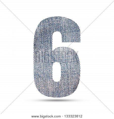 Number 6 (six) with blue jeans texture background.