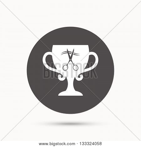 Scissors cut hair sign icon. Hairdresser or barbershop symbol. Winner award cup. Gray circle button with icon. Vector