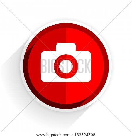 camera icon, red circle flat design internet button, web and mobile app illustration