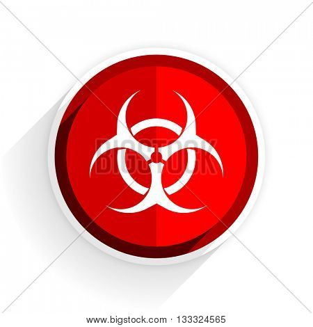 biohazard icon, red circle flat design internet button, web and mobile app illustration