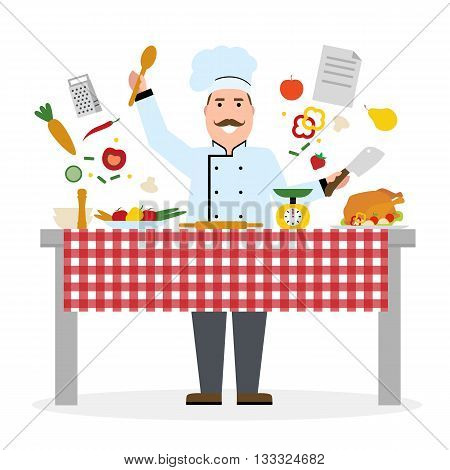 Male chef cooking on white background. Restaurant worker chopping vegetables and holding a knife. Chef uniform and hat. Table and cafe equipment.