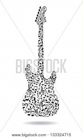 Music notes guitar. Electric guitar made of music notes. Black notes pattern. Black and white design. Guitar shape. Poster idea.