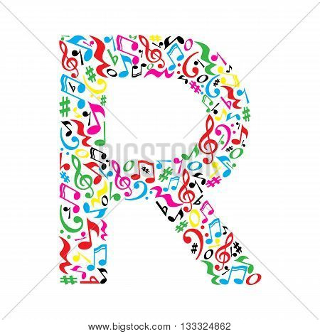 R letter made of colorful musical notes on white background. Alphabet for art school. Trendy font. Graphic decoration.