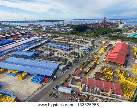 Labuan,Malaysia-June 7,2016:Aerial view of Rancha-Rancha Industrial Estate,Labuan island,Malaysia. Warehouses with a area of 42,204 m2 to accommodate storage of Chemical drums & Drilling Tools.