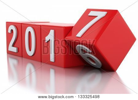3d renderer image. Red cubes with 2017. New Year concept. Isolated on white background.