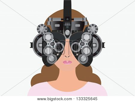 Woman looking through phoropter during eye exam equipment of test eye for Ophthalmologist health care Vector illustration.
