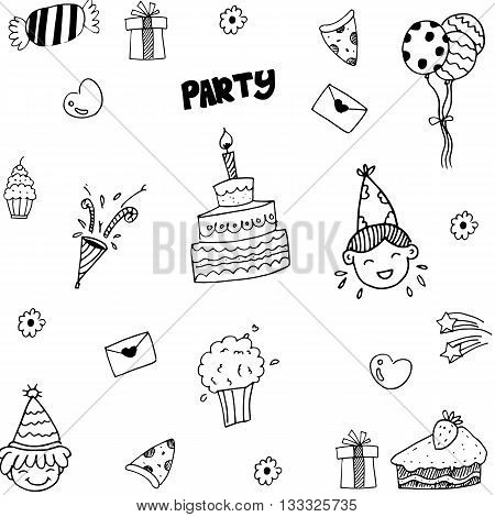 Set of celebratory icons in doodle style vector illustration
