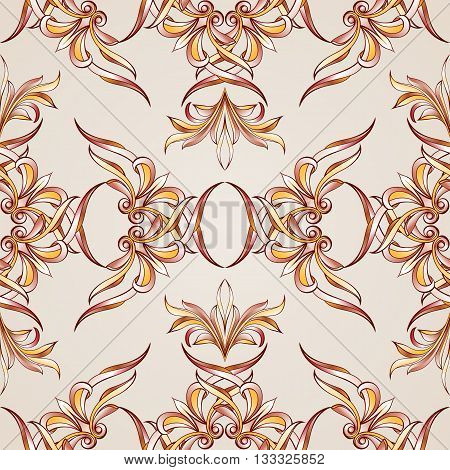Seamless floral pattern with elements weaving. Illustration in burgundy pink light brown and yellow shades on pastel rose pink background