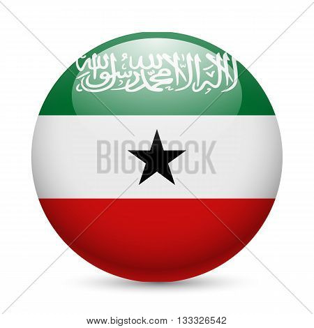 Flag of Somaliland as round glossy icon. Button with flag colors