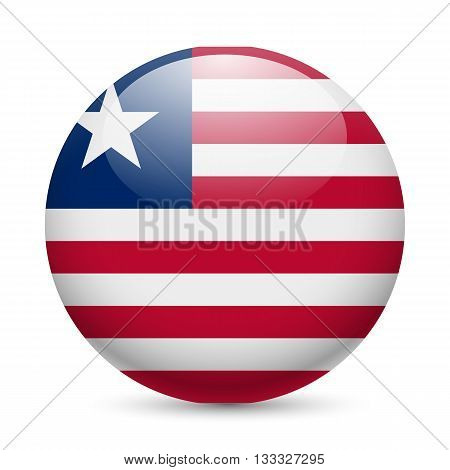 Flag of Liberia as round glossy icon. Button with Liberian flag