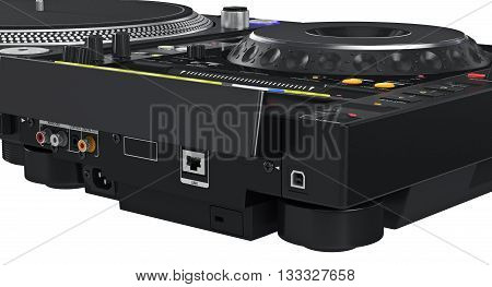 Back side black panel turntable studio mixer, close view. 3D graphic