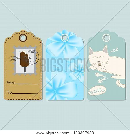 Set of tags with ice cream flora cat Greeting card vector invitation