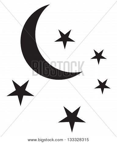 Stars and Moon Icon planetary star shape